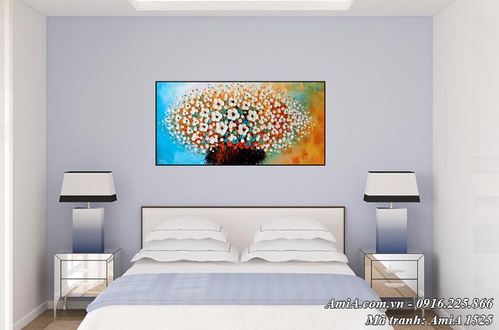 Tranh AmiA 1525 treo tường phòng ngủ hoa lá giả sơn dầu