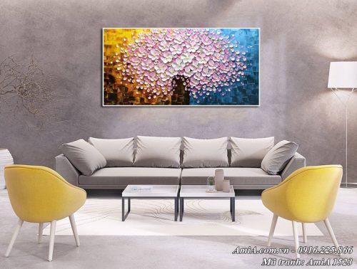 Hình ảnh tranh bình hoa sơn dầu Amia 1523 treo tường phòng khách