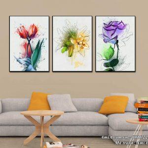 Tranh bộ 3 hoa canvas nghệ thuật treo tường Amia 1499