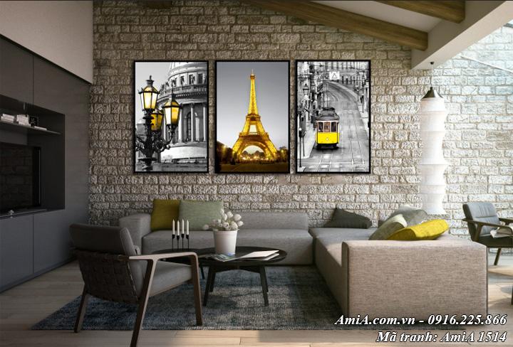Hình ảnh tranh treo ở phòng khách bộ 3 tấm phong cảnh nước ngoài