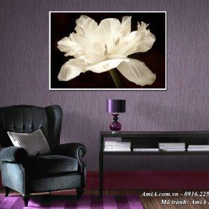 Tranh hoa trắng tinh khôi trang trí trên tường đẹp AmiA 1502