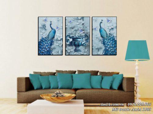 Tranh bình hoa và đôi chim công AmiA 1503 treo tường