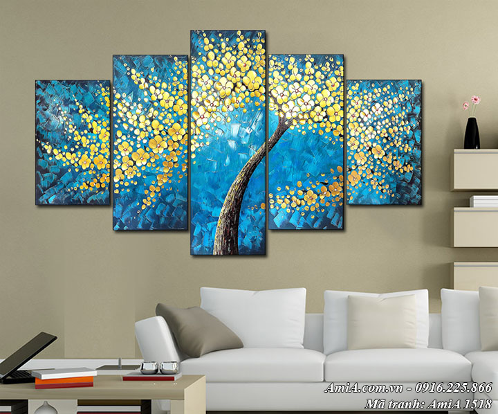 Hình ảnh tranh giả sơn dầu cây vàng phú quý