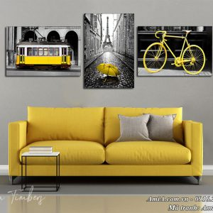 Hình ảnh bộ tranh treo tường 3 tấm cảnh nước ngoài AmiA 1520