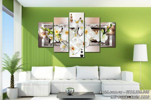 Tranh treo trên tường hoa lan trắng ghép bộ 5 tấm hiện đại nghệ thuật AmiA 1510