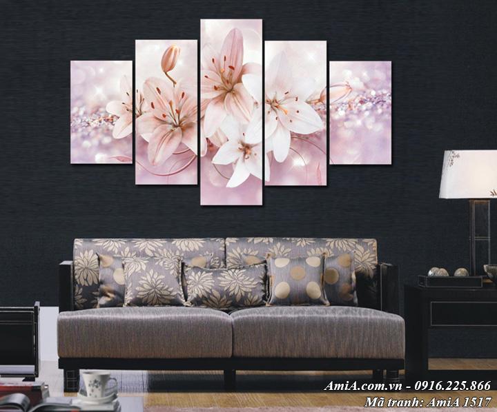 Hình ảnh tranh treo tường hoa ly nghệ thuật ghép bộ 5 tấm hiện đại AmiA 1517