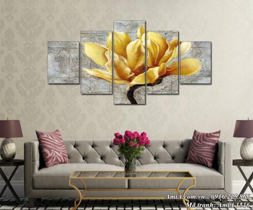 Tranh hoa mộc lan vàng treo tường nghệ thuật AmiA 1516