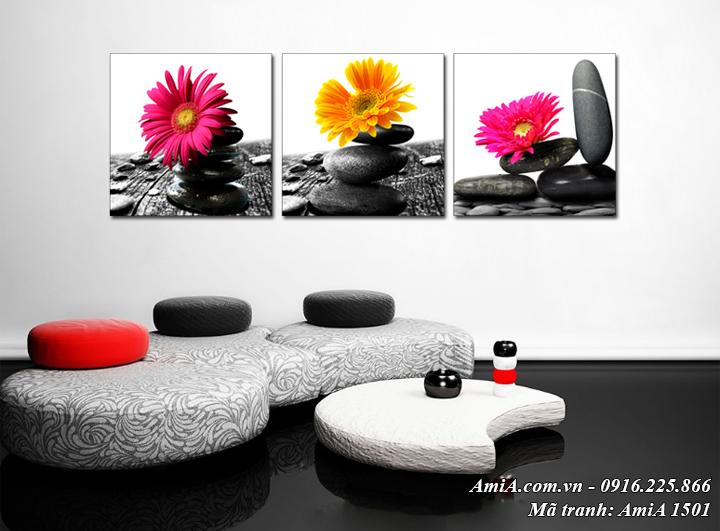 Tranh trang trí spa phòng khách hoa trên đá AmiA 1501