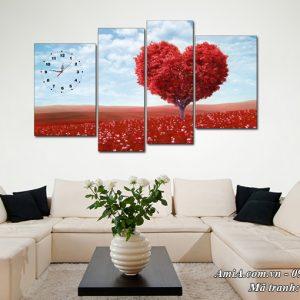 Tranh phong cảnh đẹp đồi hoa trái tim treo tường Amia 1506