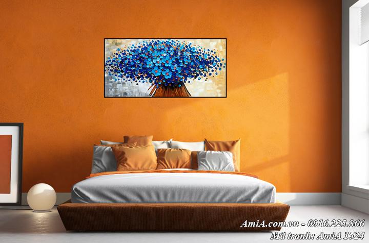 Tranh AmiA 1524 treo tường phòng ngủ hoa màu xanh giả sơn dầu