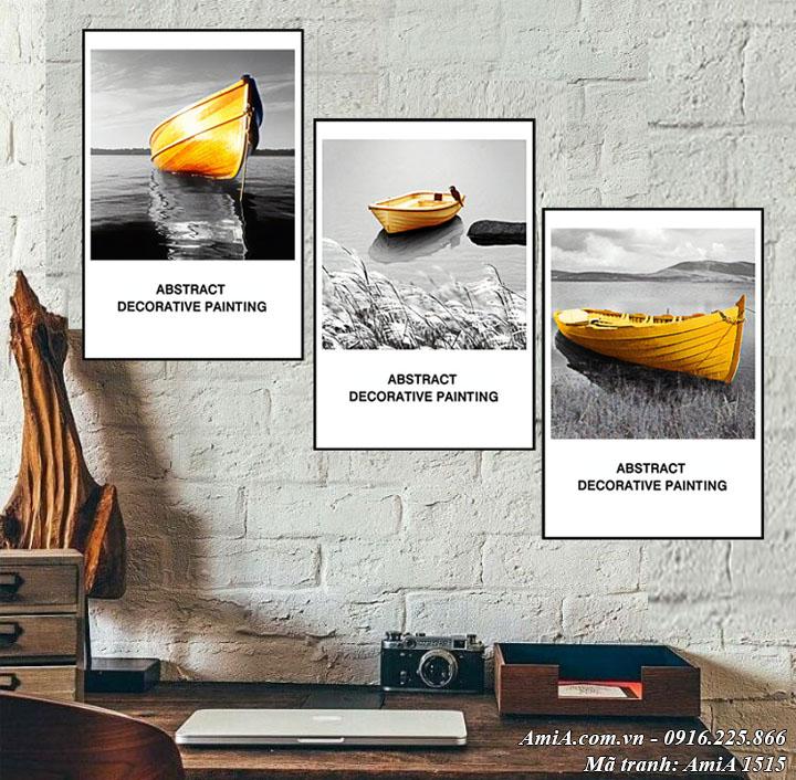 Hình ảnh tranh AmiA 1515 treo tường con thuyền vàng
