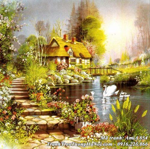 Hình ảnh tranh AmiA 654 phong cảnh ngôi nhà Châu Âu bên hồ uyên ương