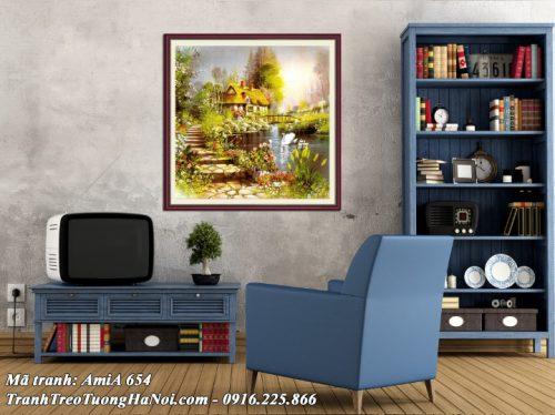 Hình ảnh bức tranh đẹp trang trí ở phòng khách gia đình ý nghĩa