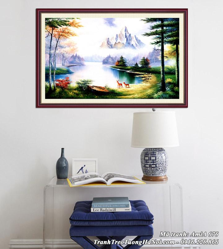 Hình ảnh tranh phong cảnh sông núi treo tường AmiA 675