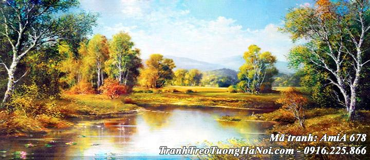 Hình ảnh tranh AmiA 678 phong cảnh rừng cây sông hồ mùa Thu