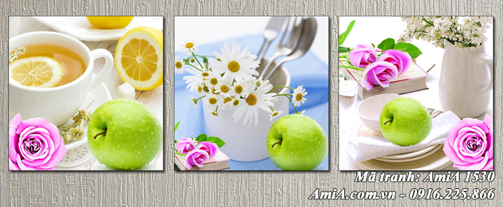 Tranh AmiA 1530 bộ tranh hoa quả tách trà treo tường phòng ăn hiện đại