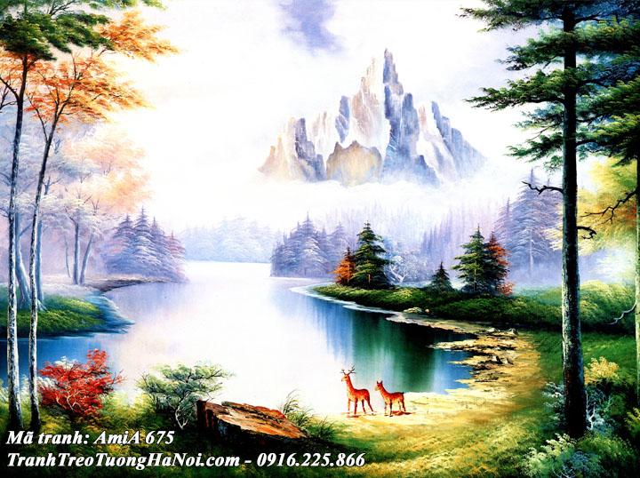 Hình ảnh tranh sông núi rừng cây giả sơn dầu treo tường AmiA 675