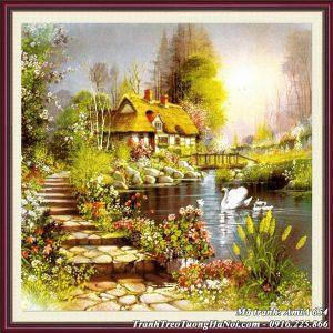 Hình ảnh mẫu tranh AmiA 654 giả sơn dầu khung cảnh ngôi nhà đẹp châu âu