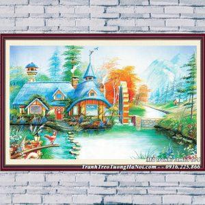 Hình ảnh tranh AmiA 674 tranh giả sơn dầu treo tường nhà nông thôn