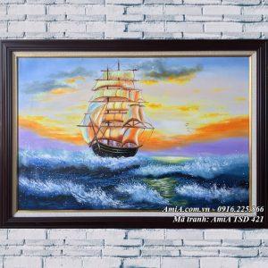 Hình ảnh tranh sơn dầu TSD 421 thuận buồm xuôi gió khổ nhỏ