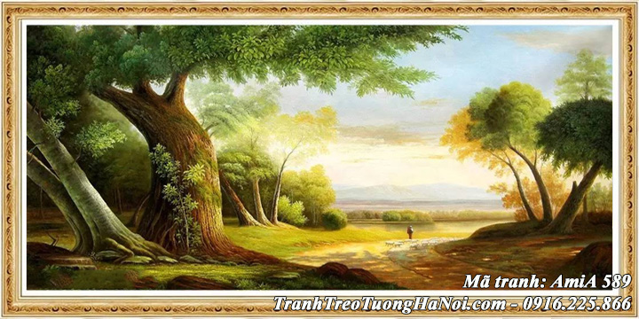 Khung tranh treo tường phong cảnh rừng cây AmiA 589