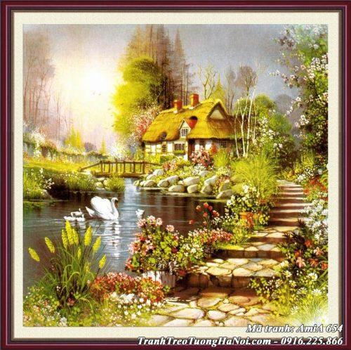 Tranh AmiA 654 được làm theo yêu cầu với cảnh đẹp ngôi nhà Châu Âu
