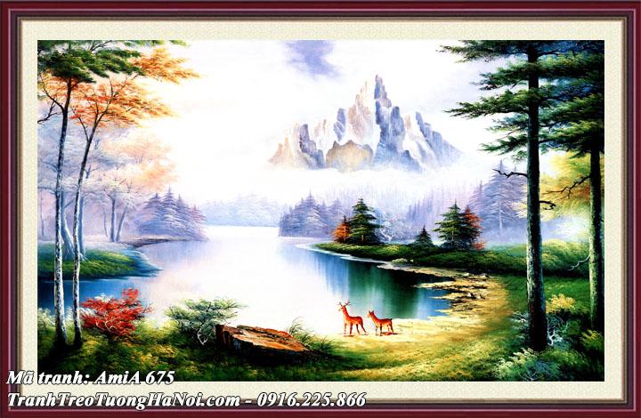 Hình ảnh tranh khung treo tường phong cảnh sông núi trong rừng Amia 675