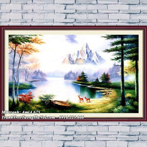 Tranh AmiA 675 phong cảnh sông núi treo tường rừng cây