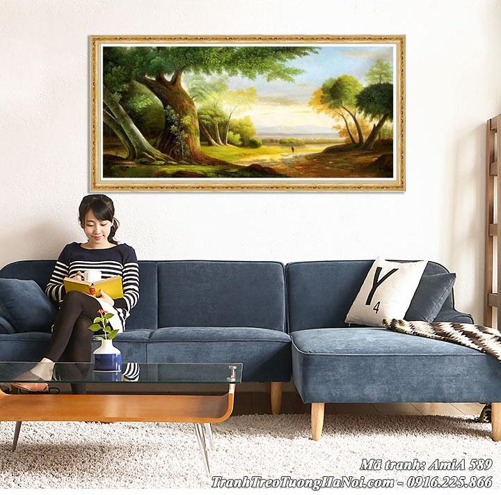 Tranh treo tường phòng khách cảnh rừng cây AmiA 589
