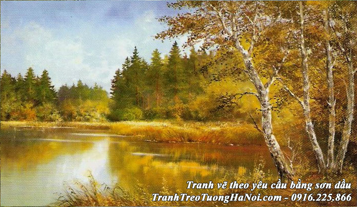Tranh AmiA rừng cây mùa thu vẽ sơn dầu theo yêu cầu