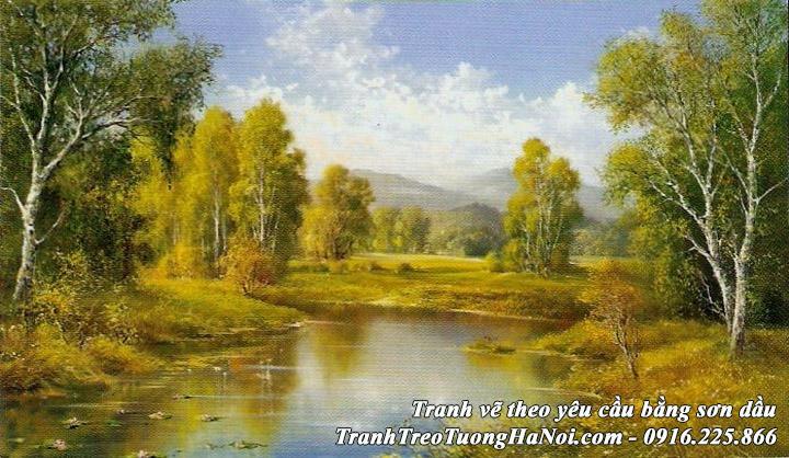 AmiA nhận vẽ tranh sơn dầu phong cảnh mùa Thu rừng cây sông suối