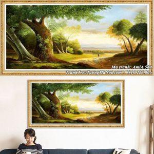 Hình ảnh tranh sơn dầu treo tường cảnh rừng cây xanh giả sơn dầu AmiA 589
