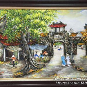 Hình ảnh tranh sơn dầu ô quan chưởng phố cổ đón xuân tsd 328C