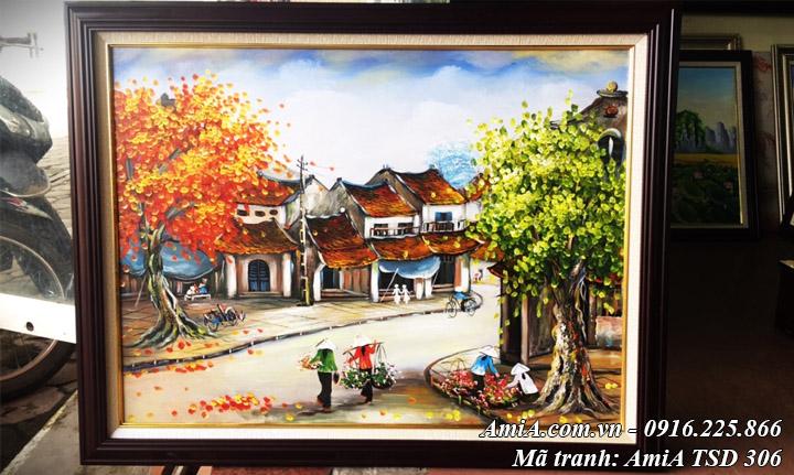 Hình ảnh tranh phong cảnh phố cổ vẽ sơn dầu khổ nhỏ AmiA TSD 306