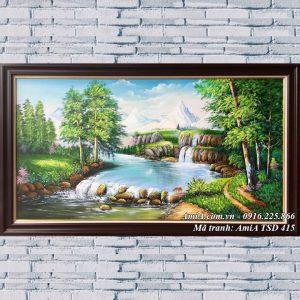 Hình ảnh phong cảnh rừng cây suối nước TSD khổ lớn 415