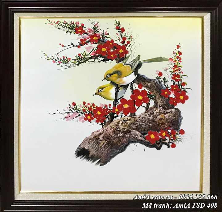 Hình ảnh tranh sơn dầu Amia TSD 408 treo tường đôi chim cành đào phát lộc