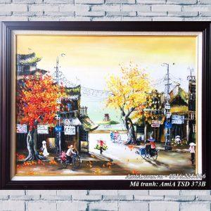 Hình ảnh tranh sơn dầu hồ gươm tháp rùa treo tường hiện đại TSD 373B