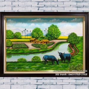 Hình ảnh tranh sơn dầu TSD 336B treo tường khổ nhỏ phong cảnh đồng quê