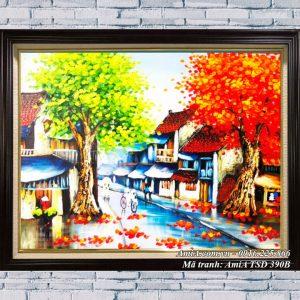 Hình ảnh tranh phong cảnh sơn dầu mùa Thu phố cổ TSD 390B