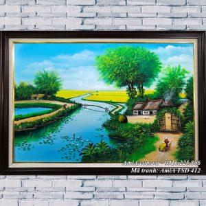 Hình ảnh tranh amia tsd 412 ngôi nhà bên sông quê vẽ sơn dầu treo tường