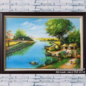 Hình ảnh tranh sơn dầu sinh hoạt nông thôn treo tường TSD 412B