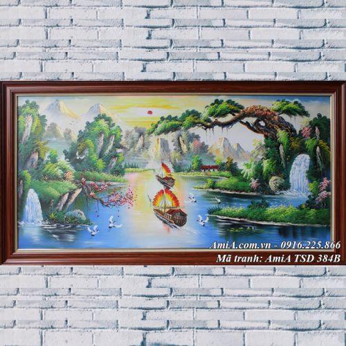 Hình ảnh tranh thuận buồm xuôi gió vẽ sơn dầu treo tường ý nghĩa tài lộc TSD 384B