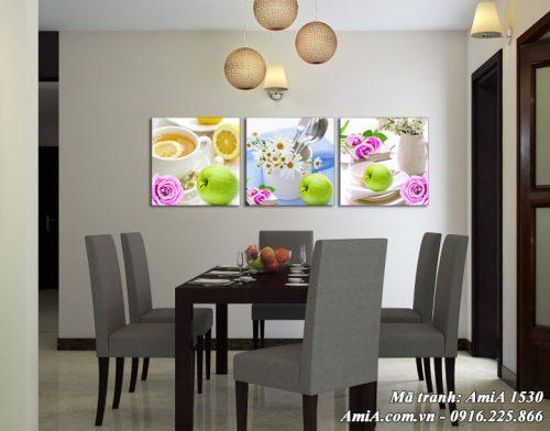 Tranh treo ở phòng ăn nhà bếp Amia 1530 bộ hoa quả