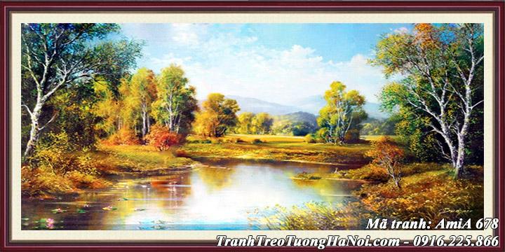 Hình ảnh bức tranh sơn dầu phong cảnh mùa Thu AmiA 678