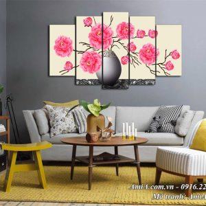 Hình ảnh tranh AmiA 1527 tranh treo tường bình hoa hồng Pháp cổ điển