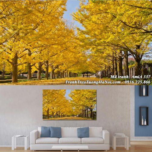 Tranh hàng cây lá vàng treo tường AmiA 337