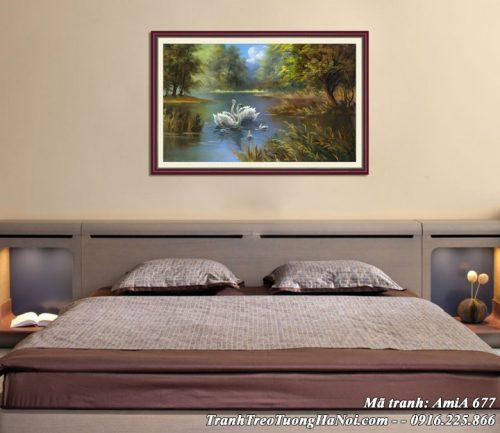Hình ảnh tranh gia đình thiên nga trang trí phòng ngủ AmiA 677