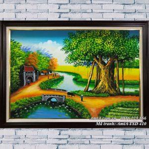 Hình ảnh tranh khổ nhỏ quê hương vẽ sơn dầu treo tường TSD 410