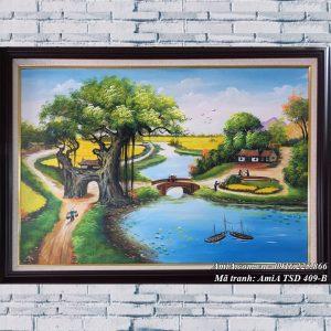 Hình ảnh bức tranh treo tường sơn dầu cảnh quê nông thôn TSD 409B