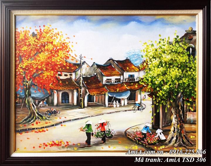 Hình ảnh tranh sơn dầu phố xưa vẽ phong cảnh phố cổ Hà Nội TSD 306